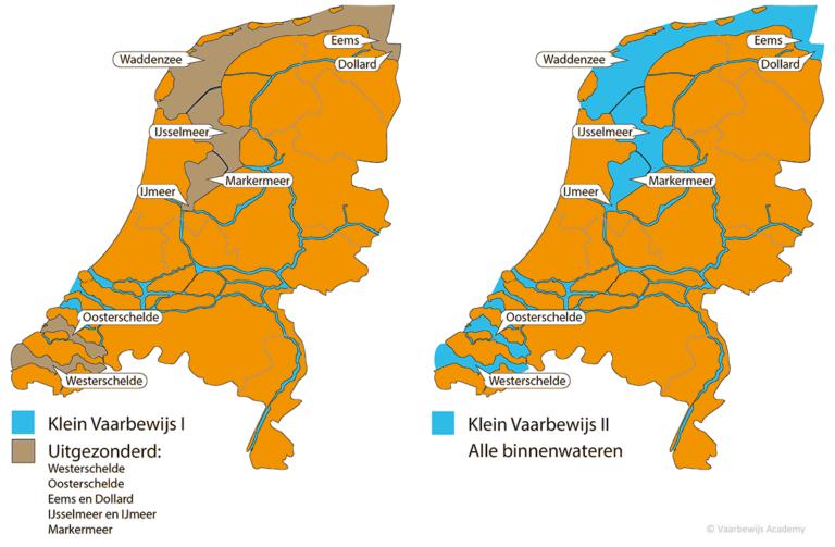 Kaart wateren vaarbewijs 1 en 2 Nederland